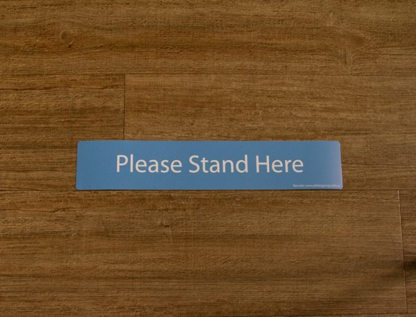 Blue Please Stand Here Sticker