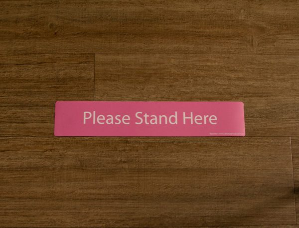 Pink Please Stand Here Sticker