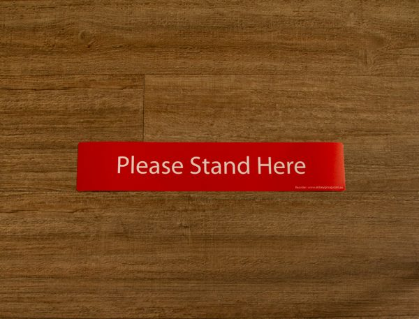 Red Please Stand Here Sticker